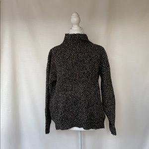 grey knit balloon sleeve mock neck sweater